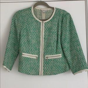 CAbi green/cream blazer